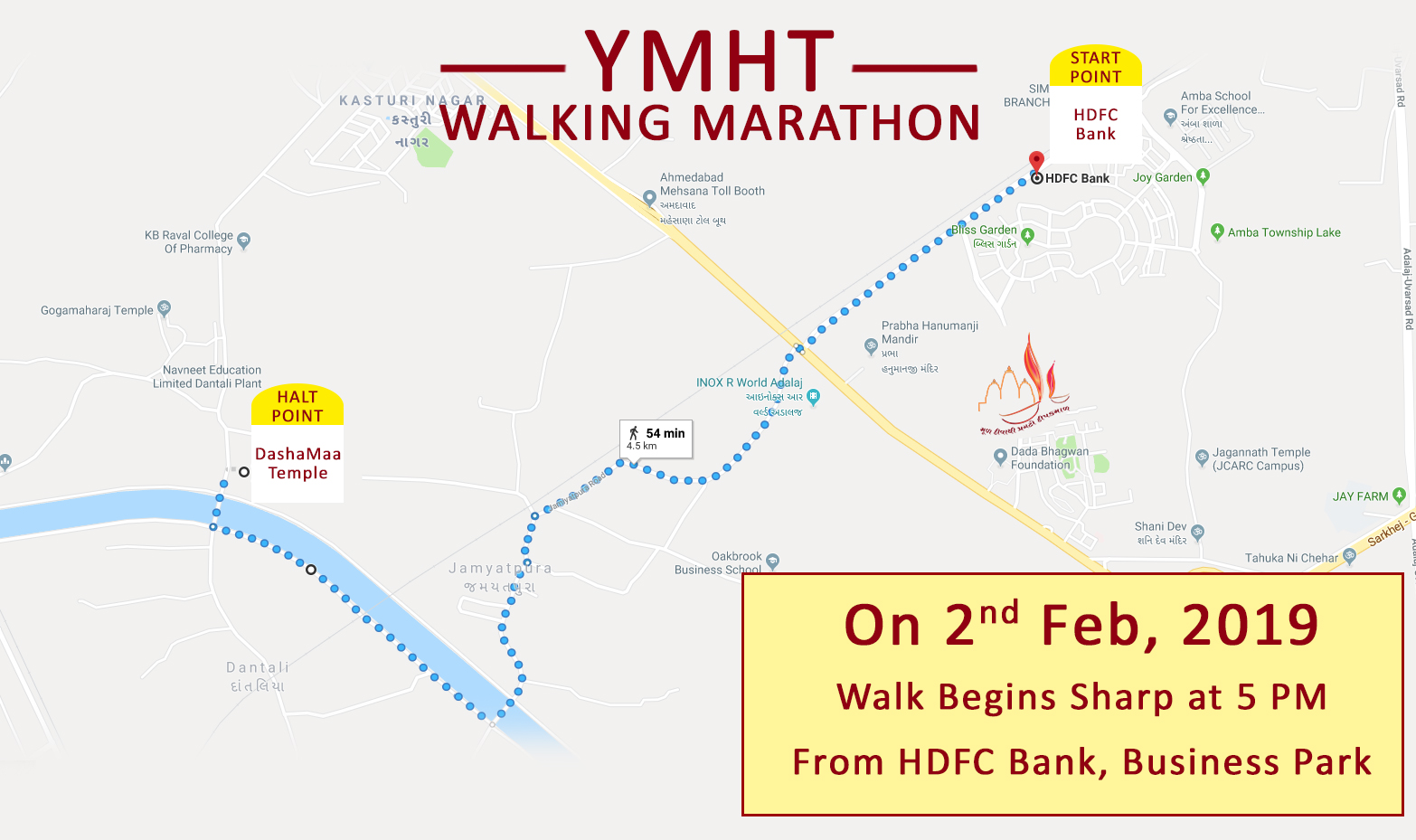Ymht Walking Marathon Map